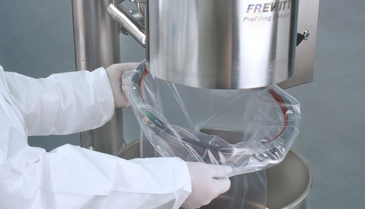 Frewitt-machine for powder processing in the pharmaceutical industry